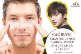 Các bước chăm sóc da mụn hàng ngày giúp nam giới tự tin hơn khi ra ngoài